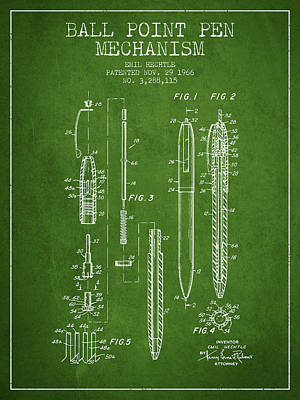 Ball Pen Drawing - Ball Point Pen Mechansim Patent From 1966 - Green by Aged Pixel
