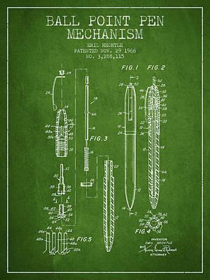 Ball Point Pen Mechansim Patent From 1966 - Green Art Print