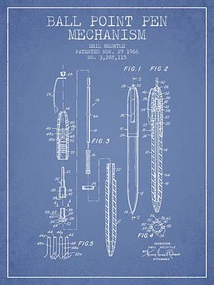 Ball Point Pen Mechansim Patent From 1966 - Light Blue Art Print