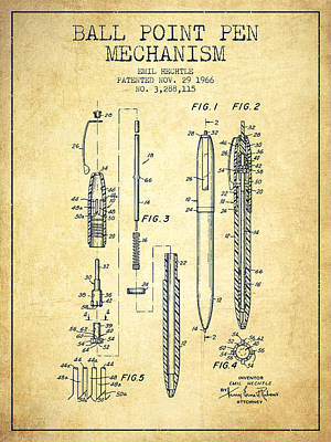 Ball Pen Drawing - Ball Point Pen Mechansim Patent From 1966 - Vintage by Aged Pixel