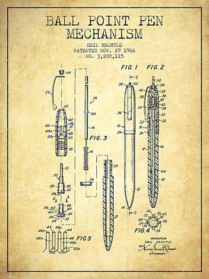 Ball Point Pen Mechansim Patent From 1966 - Vintage Art Print