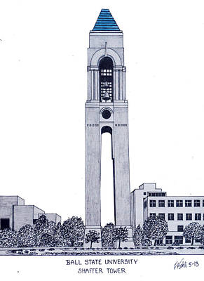 Drawing - Ball State University by Frederic Kohli