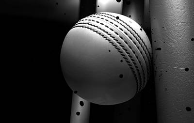 Bounce Digital Art - Ball Striking Stumps by Allan Swart