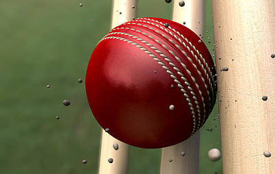 Bounce Digital Art - Ball Striking Wickets by Allan Swart