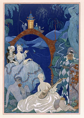 Sleeping Cupid Painting - Ball Under The Blue Moon by Georges Barbier