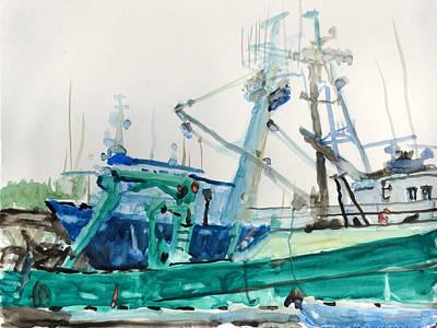 Ballard Painting - Ballard Docks by Robert Bissett
