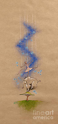 Rhythm And Blues Drawing - Ballerina And Elephant by David Breeding