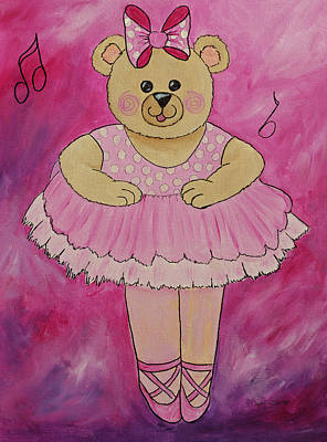 Painting - Ballerina Bear In Pink by Kenny Francis