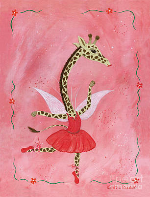 Painting - Ballerina Giraffe Girls Room Art by Kristi L Randall Brooklyn Alien Art