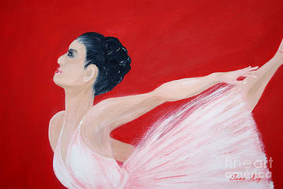 Painting - Ballerina. Greeting Card by Oksana Semenchenko