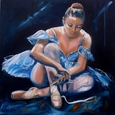 Tying Shoe Painting - Ballerina II by Donna Tuten