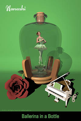 Ballerina In A Bottle - Nanashi Art Print by Alfred Price