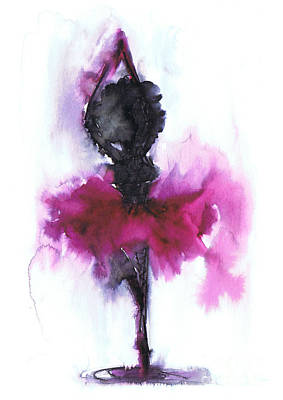 Watercolor Digital Art - Ballerina by Justyna JBJart
