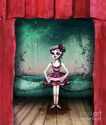 Little Girl Mixed Media - Ballerina by Kristin Hodges