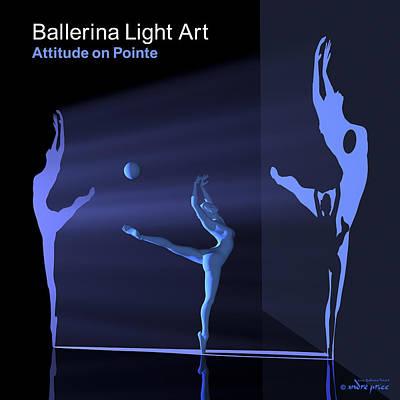 Ballerina Light Art - Blue Art Print by Andre Price