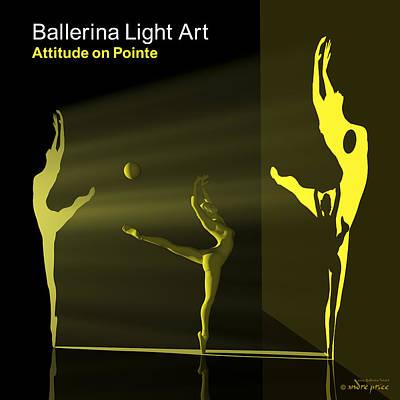 Ballerina Light Art - Yellow Art Print by Andre Price