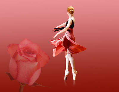 Dance Ballet Roses Photograph - Ballerina On Pointe With Red Rose  by Delores Knowles