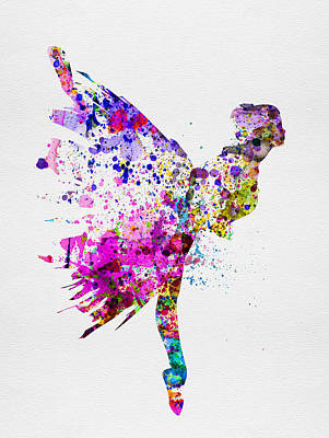 Romantic Art Mixed Media - Ballerina On Stage Watercolor 3 by Naxart Studio