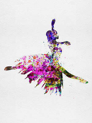Girls Mixed Media - Ballerina On Stage Watercolor 4 by Naxart Studio