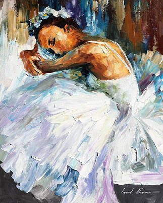 Free Painting - Ballerina - Palette Knife Oil Painting On Canvas By Leonid Afremov by Leonid Afremov