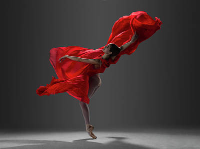 Photograph - Ballerina Performing On Pointe In Red by Nisian Hughes