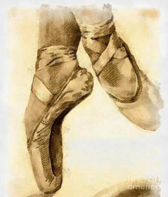 Meaning Of Life Mixed Media - Ballerina Shoes by Yanni Theodorou