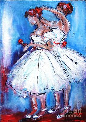 Ballerina Painting - Ballerina Twins -ideal For Girls Bedrooms by Mary Cahalan Lee- aka PIXI