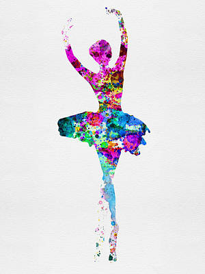Ballerina Watercolor 1 Print by Naxart Studio