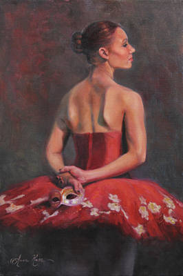 Dance Ballet Roses Painting - Ballerina With Mask by Anna Rose Bain