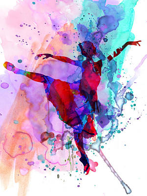 Ballet Painting - Ballerina's Dance Watercolor 1 by Naxart Studio