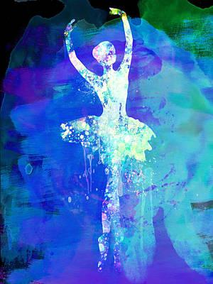 Ballet Dancers Mixed Media - Ballerina's Dance Watercolor 4 by Naxart Studio