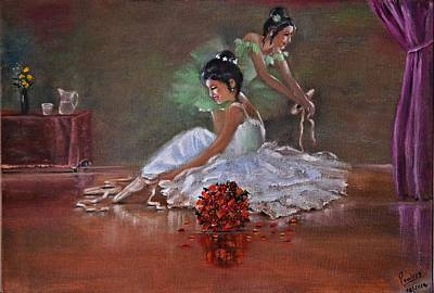 Glass Table Reflection Painting - Ballerinas by Praisey Peter