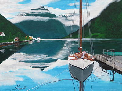Painting - Ballestrand Northern Norway  by Artistic Indian Nurse