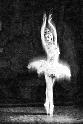 Painting - Ballet Dancer Extended Black And White by Tony Rubino