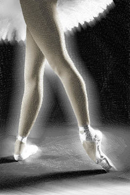 Painting - Ballet Dancer Legs Color by Tony Rubino