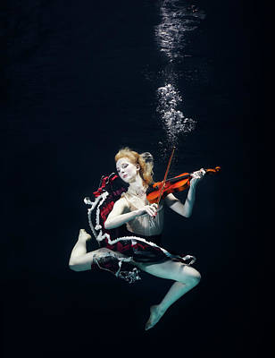 Photograph - Ballet Dancer Underwater With Violin by Henrik Sorensen