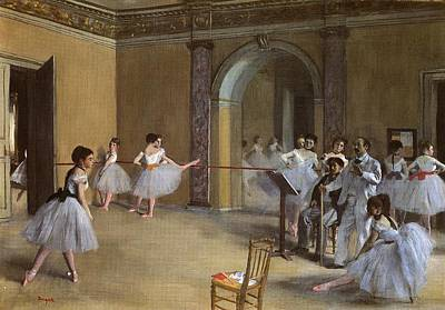 Ballet Painting - Ballet Hall Of The Opera In The Rue Peletier by Edgar Degas