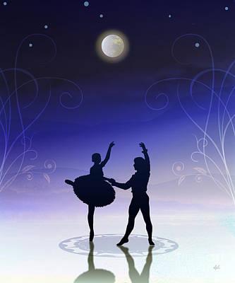 Framed Art Digital Art - Ballet In Moonlight by Peter Awax