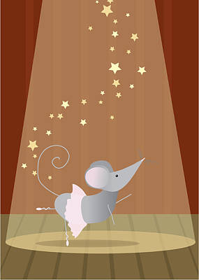 Baby Digital Art - Ballet Mouse Nursery Art Girl by Christy Beckwith