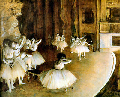 Degas Digital Art - Ballet Rehearsal On Stage by Edgar Degas