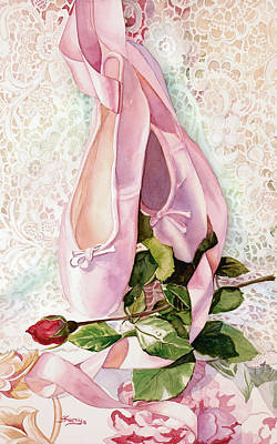 Dance Ballet Roses Painting - Ballet Rose by Judy Koenig