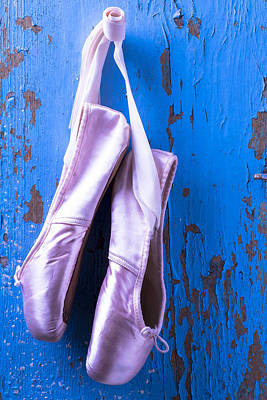 Knothole Photograph - Ballet Shoes On Blue Wall by Garry Gay