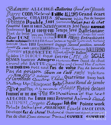 Ballet Terms Black On Blue Art Print by Andee Design