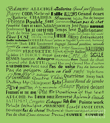 Ballet Terms Black On Green Art Print by Andee Design