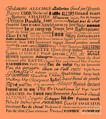 Ballet Terms Black On Orange Art Print by Andee Design