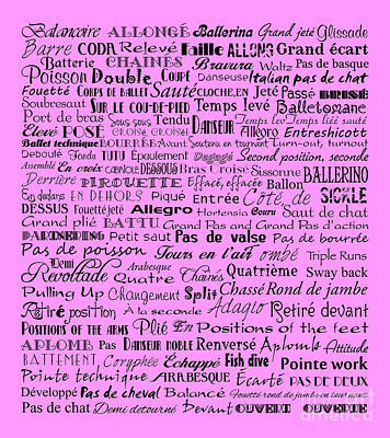 Ballet Terms Black On Pink  Art Print by Andee Design