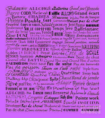 Ballet Terms Black On Purple Art Print by Andee Design