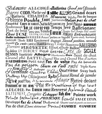 Ballet Terms Black On White Art Print by Andee Design