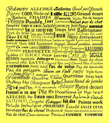 Ballet Terms Black On Yellow Art Print by Andee Design