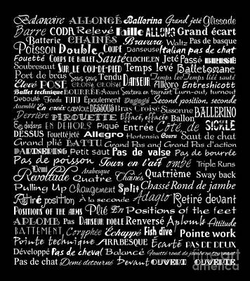 Ballet Terms White On Black Art Print by Andee Design
